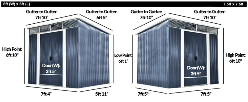 The two pent sheds side by side with writing on them denoting their length, width, height and door sizes.