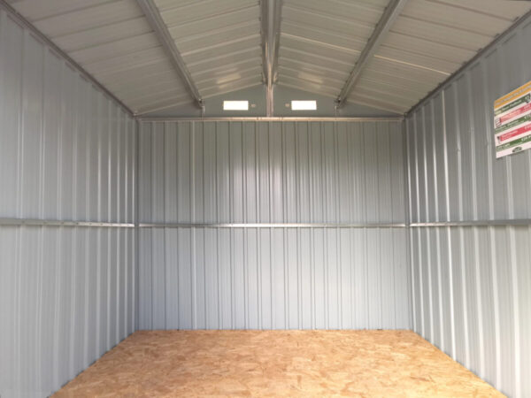 Looking into the shed from the doors at a low height