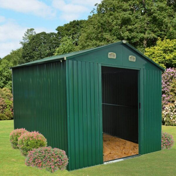 A 10ft x 10ft Metal Shed in a garden with wood-chip flooring