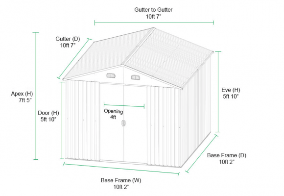 10ft x 10ft Metal Shed Dimensions