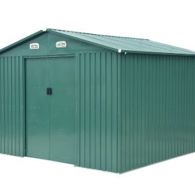 A 10ft x 10ft Steel Shed in Green against a white background. The vents are white and the vents is in sections