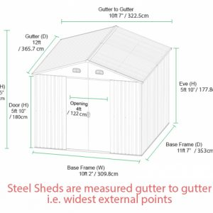 A diagram of the 10ft x 12ft shed showing the measurements of every aspect of the shed. There are a dozen or so sizes here. If you are visually impaired and would like us to read these out to you, call us! We're at 018644247