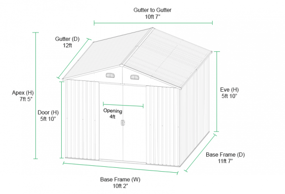 10ft x 12ft Steel Shed Dimensions