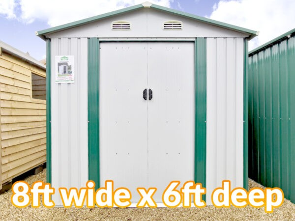 8ft wide by 6ft deep white shed