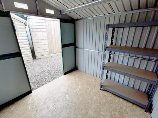 Inside the 8ft x 6ft Steel Shed in White in the Finglas showroom