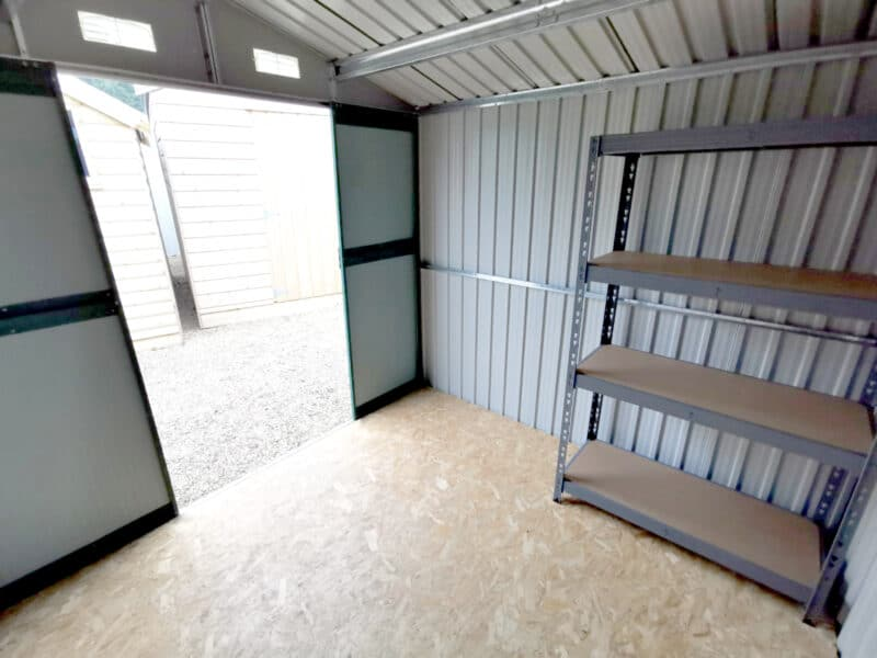 Inside the 7.5ft x 7.5ft steel garden shed, AKA 'The Goldilocks' from Sheds Direct Ireland