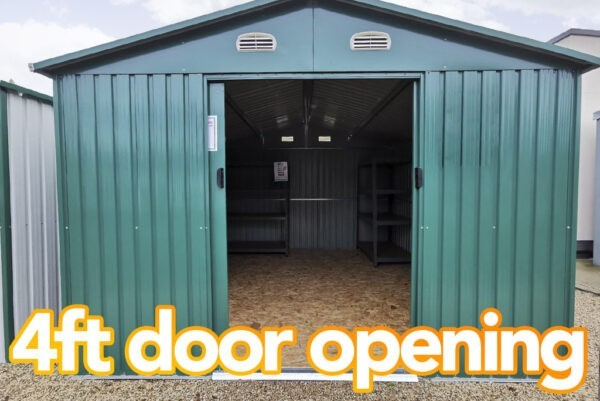 A wide view of the doors opening on the Colossus Shed. It reads '4ft door opening' on it.