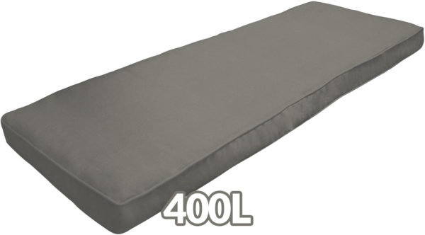 A large, dark-grey cushion that is included with the 400L Storage box. It is long and it appears to be a cushioned felt.