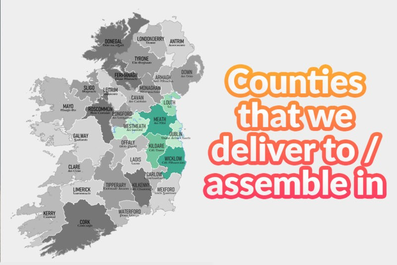 Counties that we deliver to / assemble in (for Heavy Duty Sheds). It is a map of ireland with the counties Dublin, meath, wicklow, louth, westmeath and kildare highlighted.