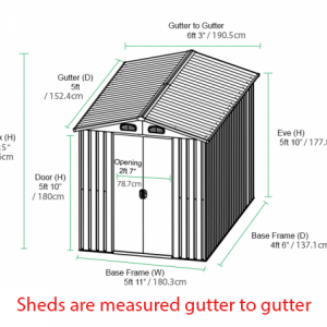 6ft x 5ft Steel Shed Dimensions