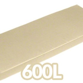 The large, cream cushion that is included with the 600L Garden Storage Box. It is as long as the storage box, with elastic clasps underneath which allows them to attach to the metal storage box.