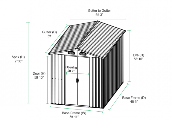 6X5 Shed Dimensions graph