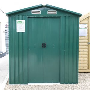 The 6ft x 8ft steel shed from Sheds Direct Ireland, as seen in their FInglas Showroom