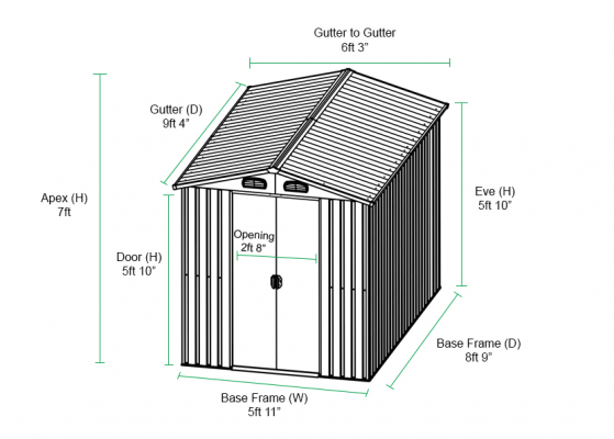 Graph of the 6 x 9 Shed with dimensions of length, width and height, including door, eve height and sliding door dimensions.