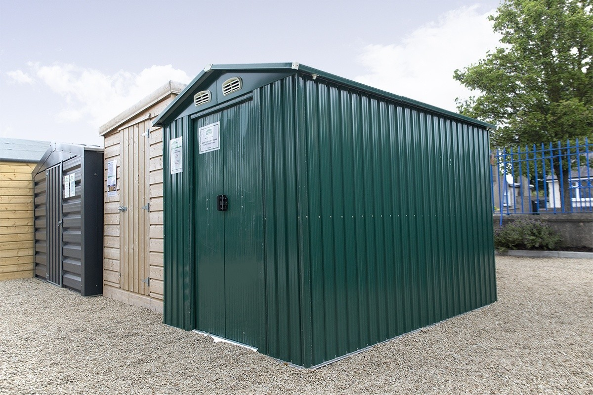 6ft x 9ft steel shed on the Sheds Direct Showroom lot