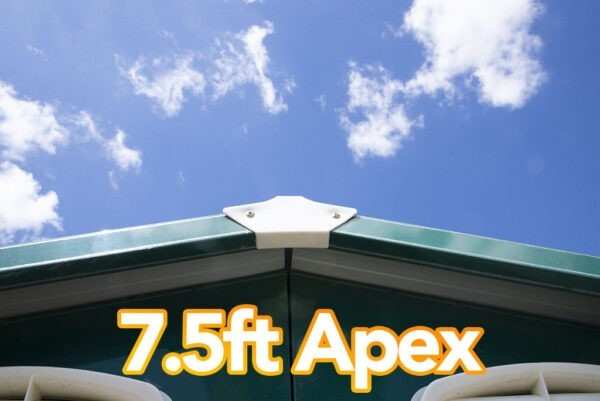 A view of the apex on the Colossus Shed. It reads '7.5ft Apex' on it