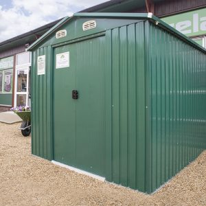 A green Steel Shed for sale at the Sheds Direct Ireland, based in Dublin