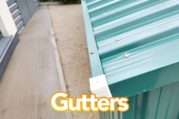 Gutters on the steel sheds from Sheds Direct Ireland