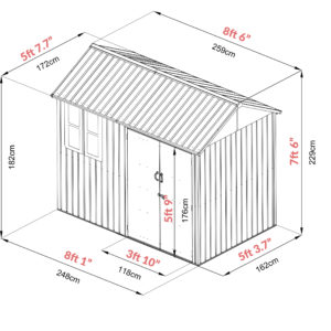 Dimensions of the Steel Shed. It's 7ft 6 inches tall, 8 foot 6 inches wide, 5ft 7.7 inches deep and the door is 5 foot 9 inches tall. The door opens to 3 foot 10 inches too.