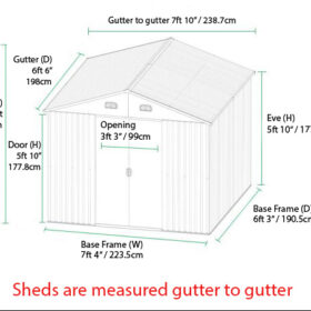 8ft x 6ft Dimensions including eve heights, gutter to gutter width and depth and door opening sizes.