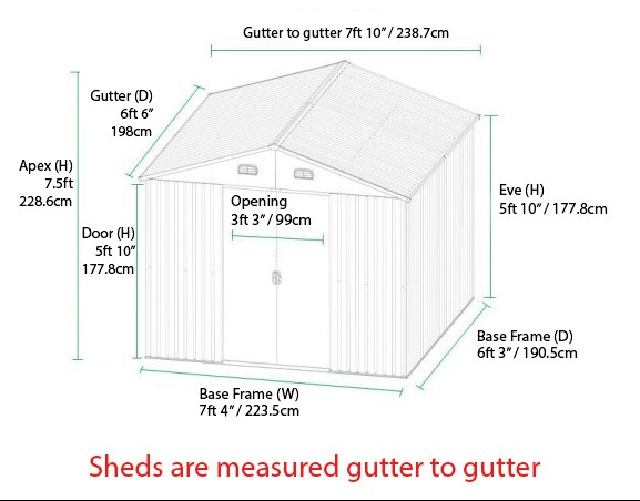 8x6 shed dimensions