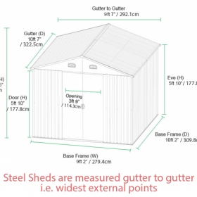 The dimensions of the 9ft x 10ft Green Steel Shed from Sheds Direct Ireland
