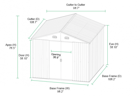 Dimensions of 9ft x 10ft Steel Shed