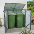 This is a metal storage container for bins or trash containers. It can hold two bins. It has a moveable roof and two metal doors which move outwards.