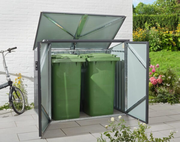 This is a metal bin store container for bins. It can hold two bins. It has a moveable roof and two metal doors which move outwards.