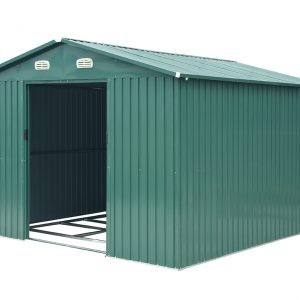 The 10x12 Steel Shed against a white backdrop with the sliding doors open all the way. The internal floor frame is visible and there are white edges on the gutters and at the edges. The 2 white vents sit above the door.