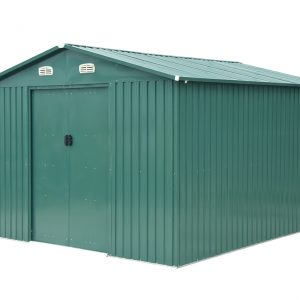 10ft x 12 ft Steel Shed from Sheds Direct Ireland, as seen from a 45 degree angle. The shed is very 'stocky' looking, it's green and there are two white vents above the door. It is against a white background.