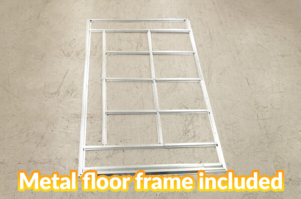 The metal floor frame for the shed on it's own, without the rest of the shed