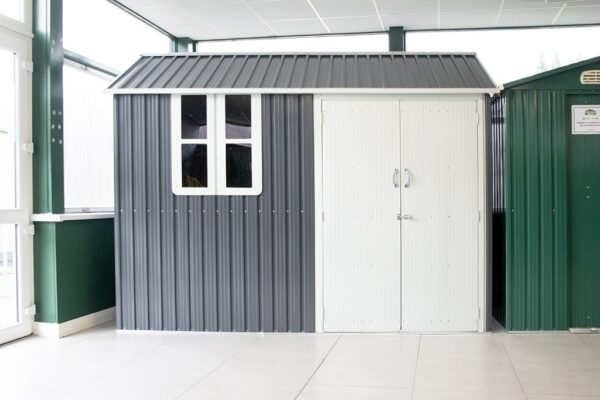 A Steel Shed in a Cottage Style exterior, from the front