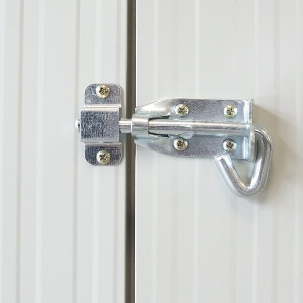 Detail of the lock on the steel shed in a cottage style