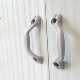 the handles of a cottage-style steel shed
