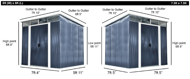 Dimensions for the Pent Sheds, including the 7.5ft x 7.5ft option and the 8ft x 6ft option.