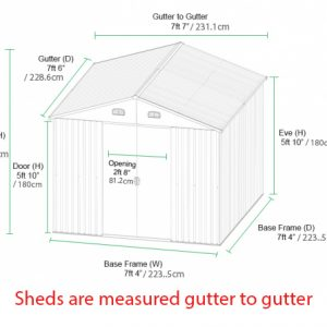 7.5ft Steel Shed Dimensions