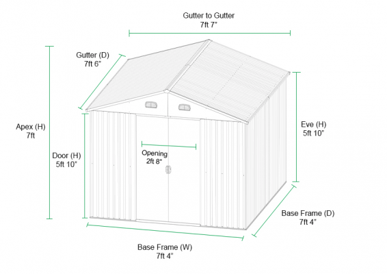 7.5ft x 7.5ft Shed Dimensions