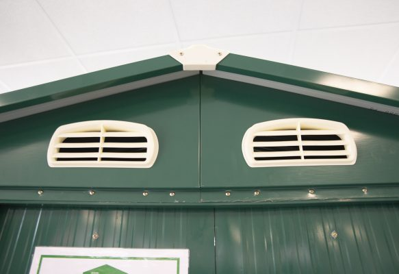 A picture of two clear shed vents. There is no maintenance involved here, just a photo of clear, unobstructed vents