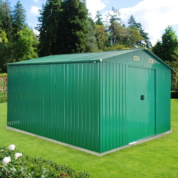10ft x 12ft green steel shed from Sheds Direct Ireland