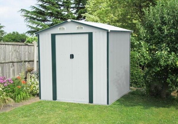 Example of a Steel Shed in White-Grey
