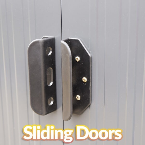A close up view of the black handles of the steel pent shed. The doors behind are grey and matte but slightly reflective. It says 'sliding doors' in text just below them on the image