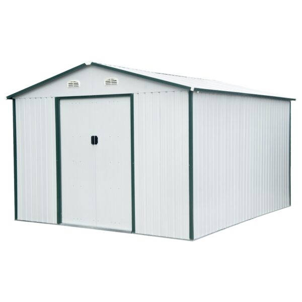 The 10ft x 12ft Steel Sheds from Sheds Direct Ireland, but it is in the grey-white colour variant. The door edges and the flashings off the shed are a dark green. The door handles are a soft grey-black and there are two vents above the door which are brilliant white.