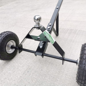 a low, wide angled view of the tyres and ball hitch
