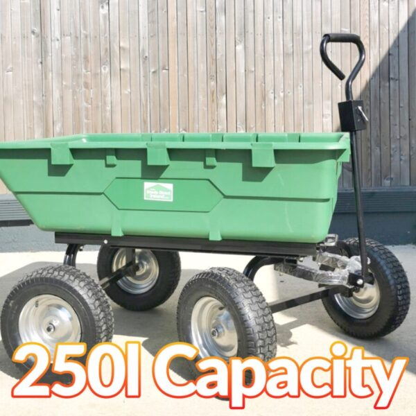 250 litre tipping cart as seen on a very sunny day. there are harsh shadows in the background, cast by the building to the left. The cart is bright green and the wheels are very large and tough looking. There is a sturdy, black metal handle and a sheds direct ireland sticker on it.