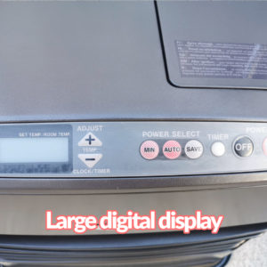 The digital display on the powerful heater, kero 4600. There is a led display which is pale and inactive currently on the left. There are arrow temperature controls in white and two red buttons beide them. One red button says 'min', the other says 'auto'. The white button to the right of these says 'save' and a small almost pearlescent button beside this says 'timer'. There is a large black 'off button' on the far right also.