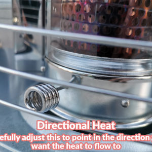 A macro photo of the fuel directional control. It's silver and curled (like a pigs tail).