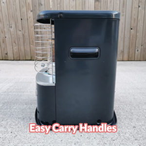 A side view of the heater which highlights the easy carry handle