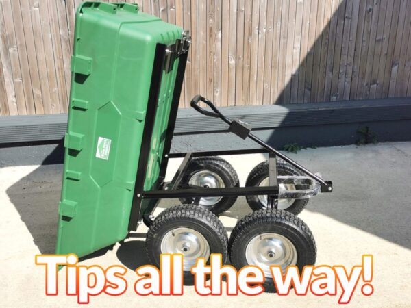 A picture of the 250l cart as seen from the side. The cart is tipping to the left. All 4 wheels are visible and the bright green bucket is touching the ground