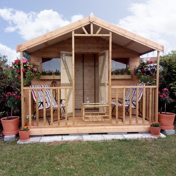A customers taken shot of the Sheds Direct Ireland Wooden Chalet